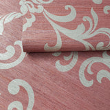 88015 Burgundy gold metallic damask textured faux grasscloth texture wallpaper