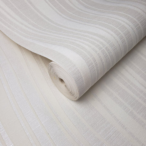 135080 Portofino Flock White Wave lines Metallic Velvet Wallpaper