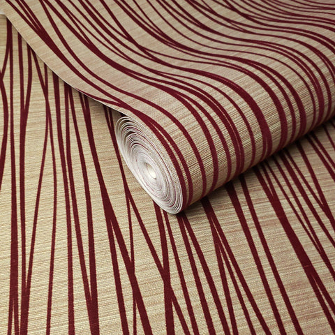 135065 Flocked Texture Wallpaper Flock Burgundy Red Velvet Gold Metallic Flocking Lines