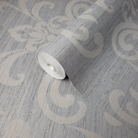 WM8801201 Damask Gray Silver metallic textured faux grasscloth texture wallpaper