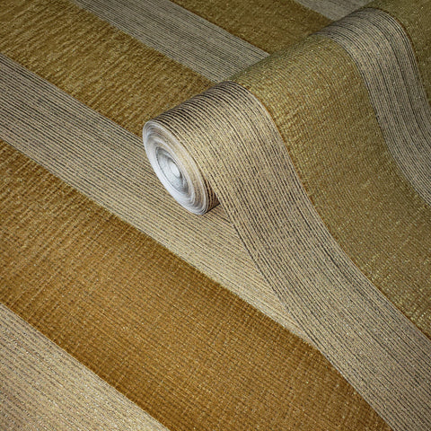 175026 Striped Flocked Wallpaper yellow Gold metallic Textured Flocking Velvet Stripes - wallcoveringsmart
