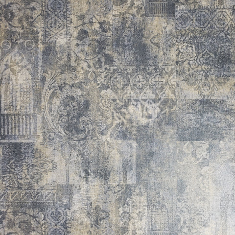 330008 Wallpaper Rustic Blue faux vintage Old Rug carpet Textured Moroccan Boho