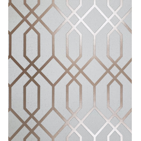 WM8423062 Wallpaper Beige Rose Gold Textured Geometric Trellis - wallcoveringsmart