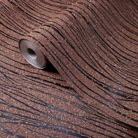 Z205 Orange Mica chip Sparkle Natural Wallpaper black Lines Modern