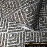 I213 Mica Vermiculite Gray silver Arthouse Geometric triangle Natural Wallpaper