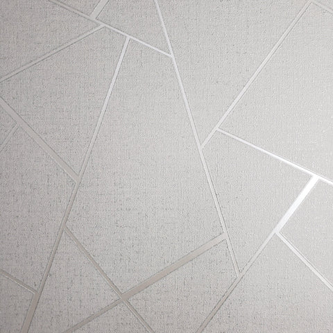 WMFD422801 Contemporary Wallpaper White Silver Metallic geometric textured - wallcoveringsmart