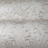 8119-01 Paper Wallpaper cream off white Victorian vintage damask textured 3D - wallcoveringsmart