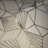 8576-01 Wallpaper cream gold metallic textured geometric diamond triangle lines - wallcoveringsmart