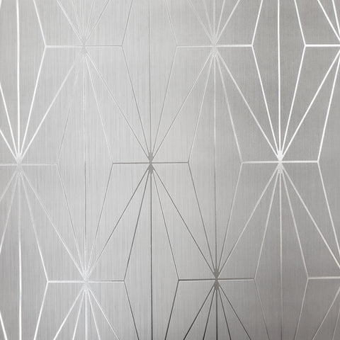 WM70301001 Geometric lines wallpaper Gray Silver Metallic Textured 3D