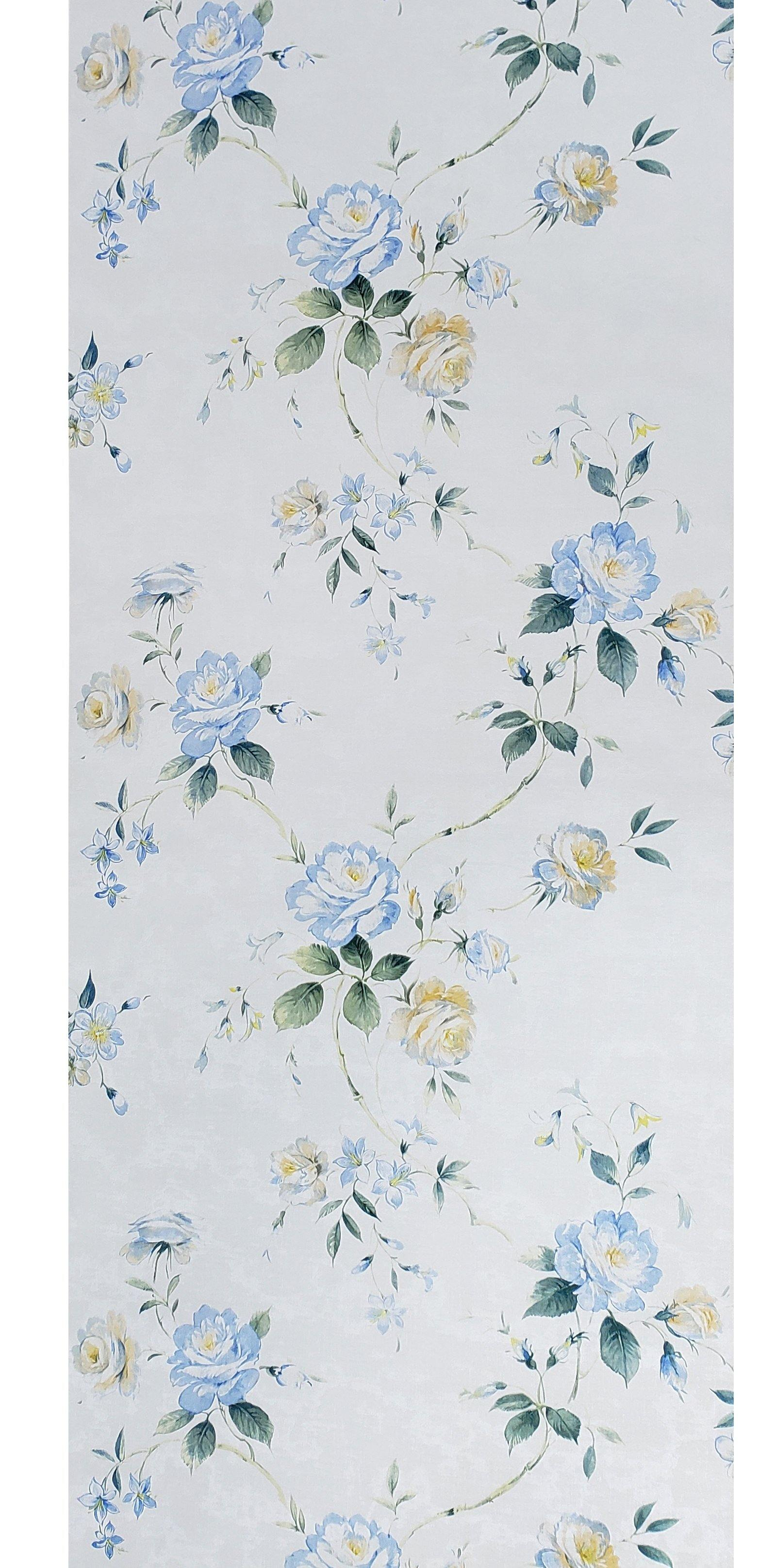 Wm7802601 Floral Wallpaper Roll Blue Flowers Rustic White Cream