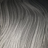 WM0115310701 textured wavy lines wallpaper Black Gray Silver waves 3D