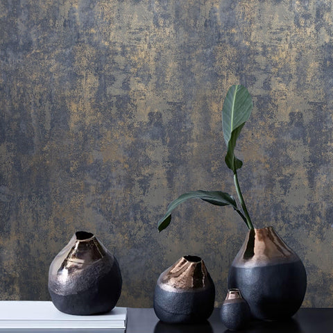 WM0190380801 Wallpaper rustic navy blue gray gold Plain faux Concrete plaster - wallcoveringsmart