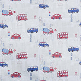 WM01533501 Cars Traffic Bus Road Street Kids room Nursery White Wallpaper