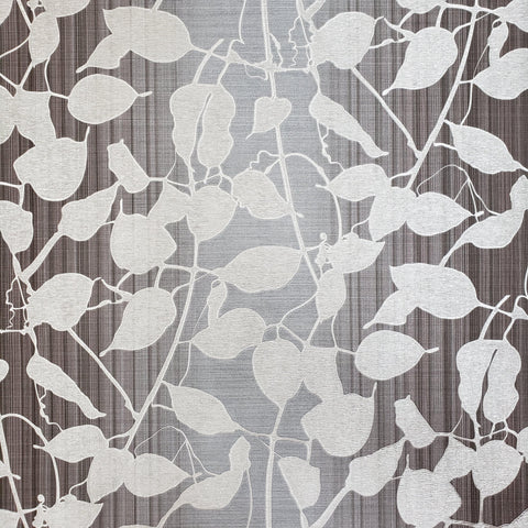 135015 Ombre Plaid Wallpaper charcoal black gray silver Metallic Textured vine Leaves 3D - wallcoveringsmart