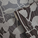 135015 Ombre Plaid Wallpaper charcoal black gray silver Metallic Textured vine Leaves 3D
