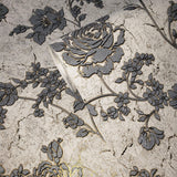 5592-10 Wallpaper gray flowers white gold metallic floral cracked plaster textured