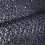 I243 Natural Mica Vermiculite charcoal Gray silver metallic wave lines Wallpaper