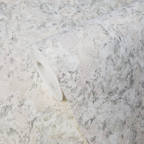 8557-10 Plain Wallpaper rustic white gray gold metallic textured faux marble - wallcoveringsmart