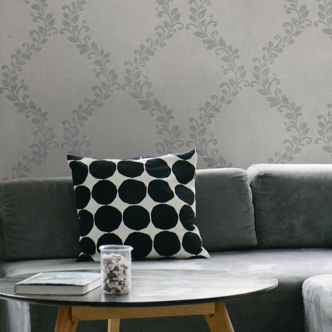 305026 Taupe Gray Silver Floral Wave Wallpaper