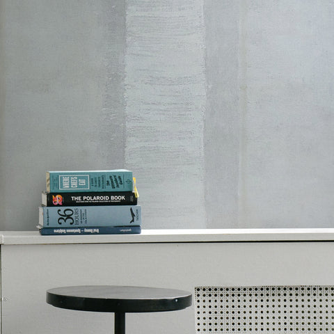 310009 Portofino striped Wallpaper gray white Textured faux vintage rusted rug sackcloth stripes