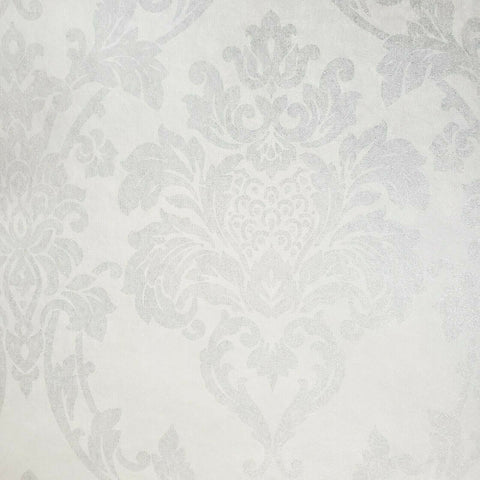 225001 Portofino Victorian damask Matt white silver Metallic Wallpaper