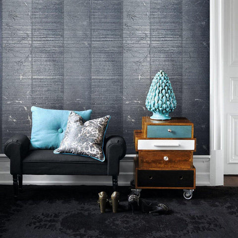125035 Portofino Blue Gray Striped Metallic Textured Wallpaper