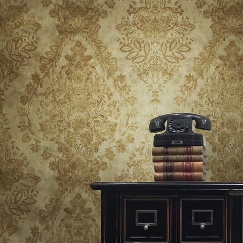 76009 Gold Metallic Floral Damask Wallpaper