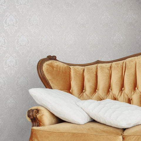 8530-02 White Diamond Damask Ivory Wallpaper