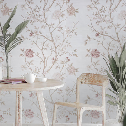 WM8801801 Pink cream faux grasscloth textured pinkish flowers floral tree wallpaper - wallcoveringsmart