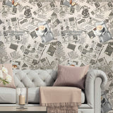 C791-10 Wallpaper gray off white vintage newspaper textured wallcoverings for kitchen 3D