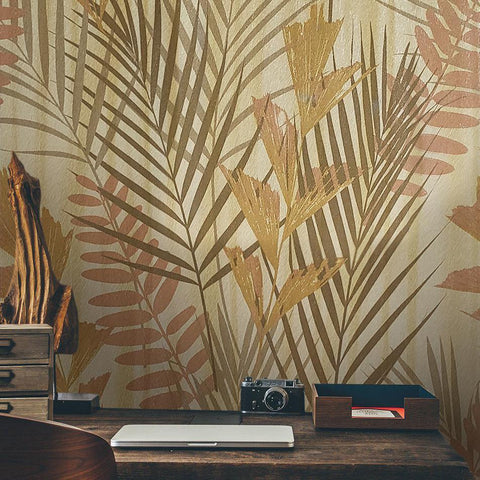 255005 Textured Wallpaper Gold Metallic Floral Tropical Palm Leaves Trees