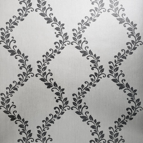 305030 Glitter Embossed White Silver Grey Diamond Floral Wallpaper