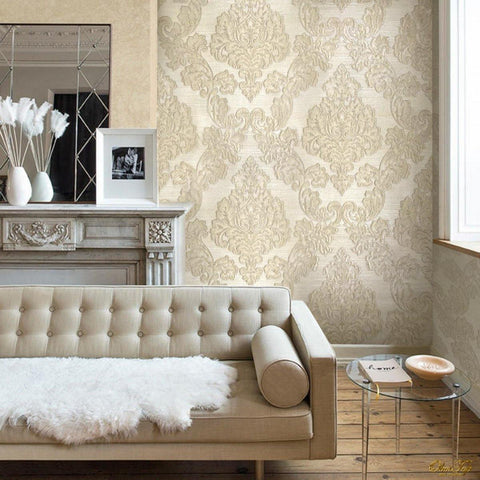 125007 Ivory White Damask Wallpaper