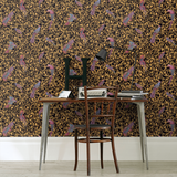 37053-1 Barocco Birds Textured Black Gold Wallpaper - wallcoveringsmart