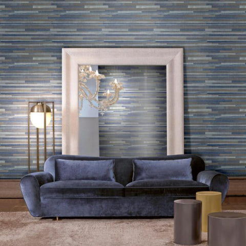 Z41250 Faux Abaca bark stripes navy blue gold textured Wallpaper