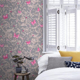 34325-5 Butterfly Barocco Fuchsia Gray Off-white Taupe Wallpaper - wallcoveringsmart