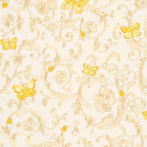 34325-1 Butterfly Barocco Cream Yellow Gold Off-white Wallpaper - wallcoveringsmart