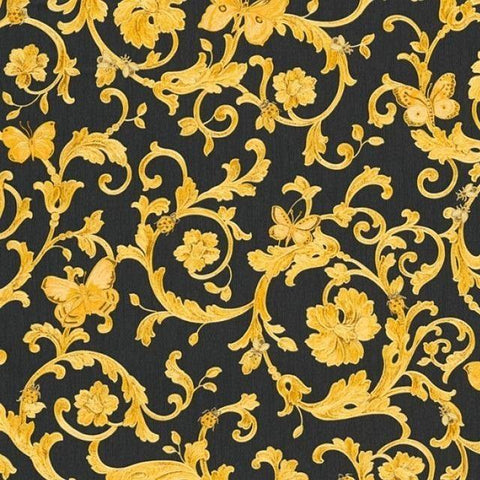 34325-2 Versace Butterfly Barocco Gold Black Textured Wallpaper