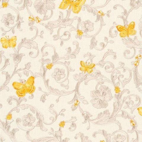 34325-3 Butterfly Barocco Beige Yellow Off-white Wallpaper - wallcoveringsmart
