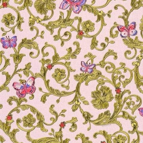 34325-4 Butterfly Barocco Blue Fuchsia Gold Purple Pink Wallpaper - wallcoveringsmart