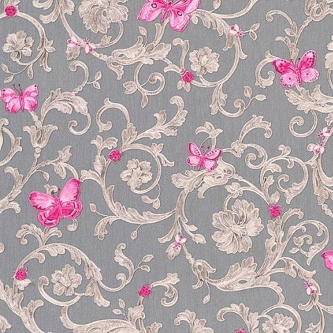 34325-5 Butterfly Barocco Fuchsia Gray Off-white Taupe Wallpaper