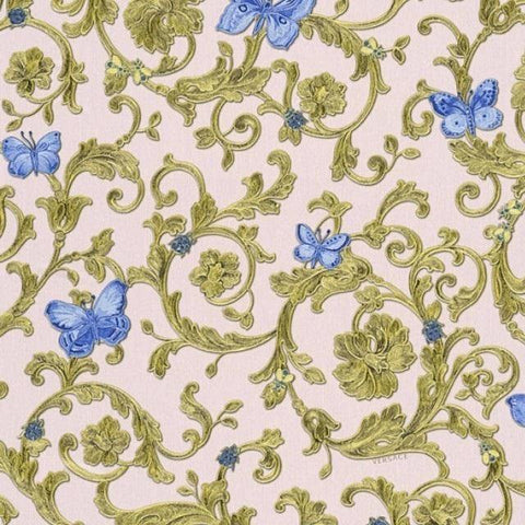 34325-6 Butterfly Barocco Blue Gold Pink Wallpaper - wallcoveringsmart