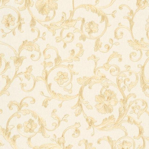34326-1 Butterfly Barocco Cream Gold Off-white Wallpaper - wallcoveringsmart