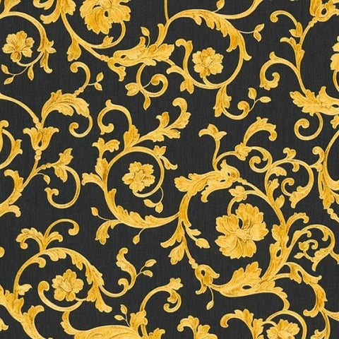 34326-2 Butterfly Barocco Gold Black Wallpaper - wallcoveringsmart