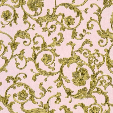 34326-4 Butterfly Barocco Gold Off-white Pink Wallpaper - wallcoveringsmart
