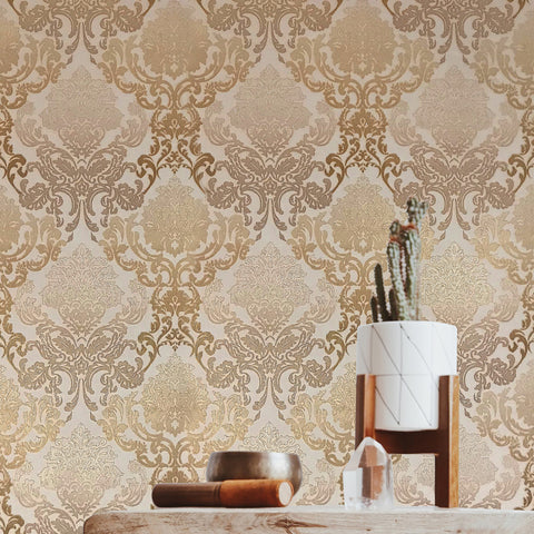 6513-01 Damask Gold Blush Peach Ombre Wallpaper
