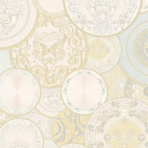 34901-2 Les Etoiles De La Mer Gold Light Blue White Wallpaper - wallcoveringsmart