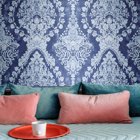 76006 Blue Silver Floral Diamond Metallic Wallpaper