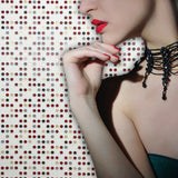 3559-13 Modern White Polka Dot Red Gold Wallpaper
