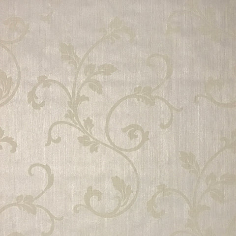 175017 Cream Ivory Damask Flocking Portofino Textured Wallpaper